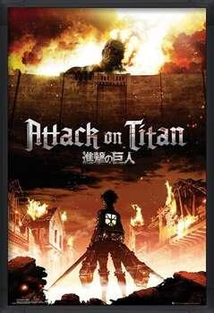 Pôster emoldurado Attack on Titan (Shingeki no kyojin) - Key Art