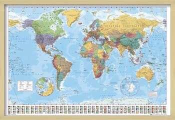 Pôster emoldurado World Map - Political