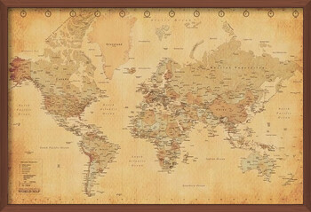 Pôster emoldurado World Map - Antique Style