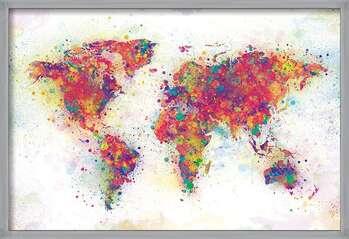 Pôster emoldurado World Map - Colour Splash