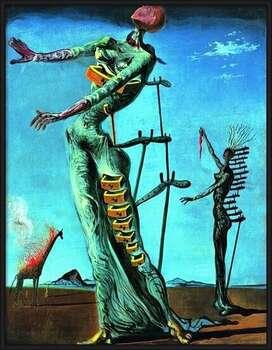 Pôster emoldurado Salvador Dali - Girafe En Feu