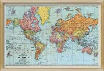 Pôster emoldurado Stanfords General Map Of The World - Colour