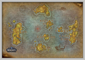Pôster emoldurado World Of Warcraft - Map