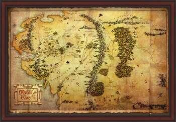 Pôster emoldurado The Hobbit - Middle Earth Map