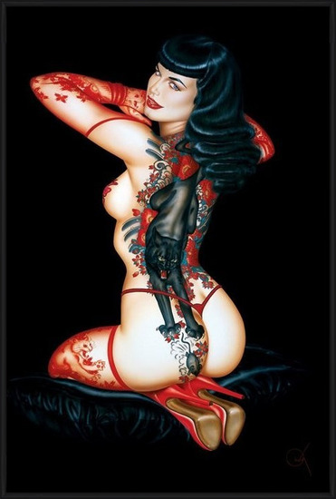 Poster  Bettie Page - tattoo