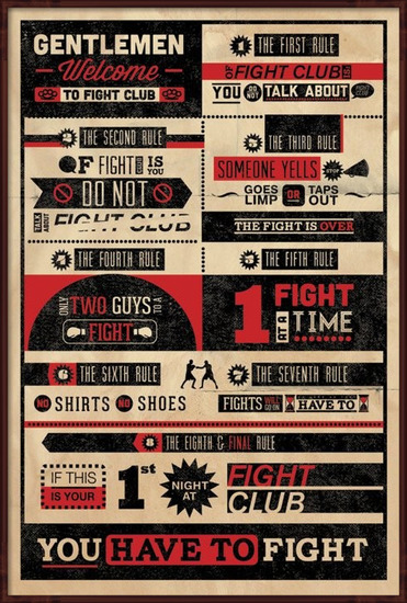 Poster  FIGHT CLUB RULES INFOGRAPHIC