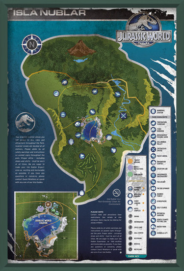 Poster  Jurassic World - Aged Map