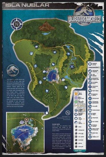 Poster  Jurassic World - Aged Map