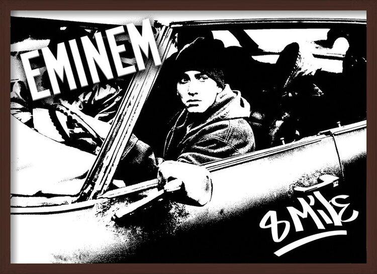 Poster  8 MILE - Eminem car b&w