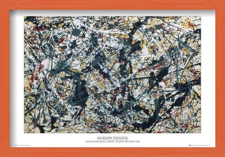 Poster  Jackson Pollock - silver on black