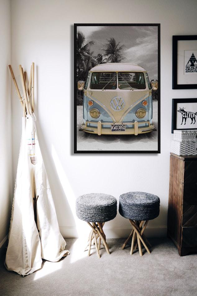Poster VW Volkswagen Californian - Route on